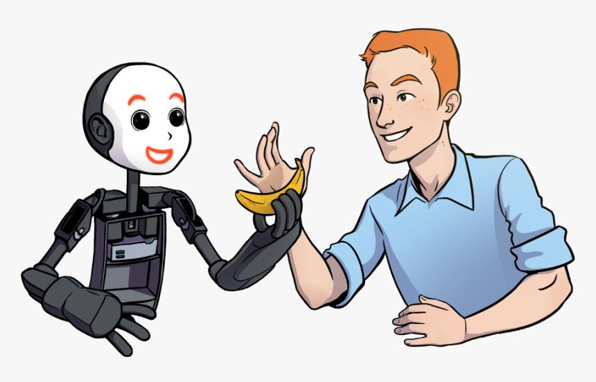 Robot And Human Cartoon, HD Png Download, Free Download