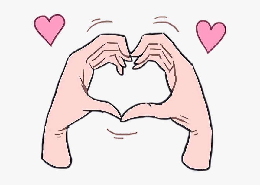 #love #heart #kawaii #cute #hand #hands #cartoon #anime - Stickers De Amor Memes, HD Png Download, Free Download