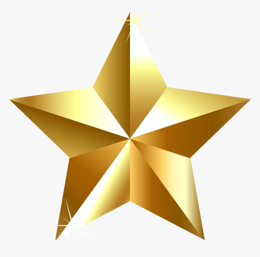 Gold Star Clip Art - Golden Transparent Background Star, HD Png Download, Free Download