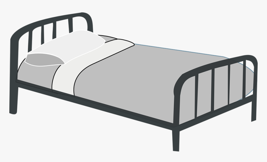 Bed, Metal, Motel, Pillow, Gray, Hotel - Bed Clipart, HD Png Download, Free Download