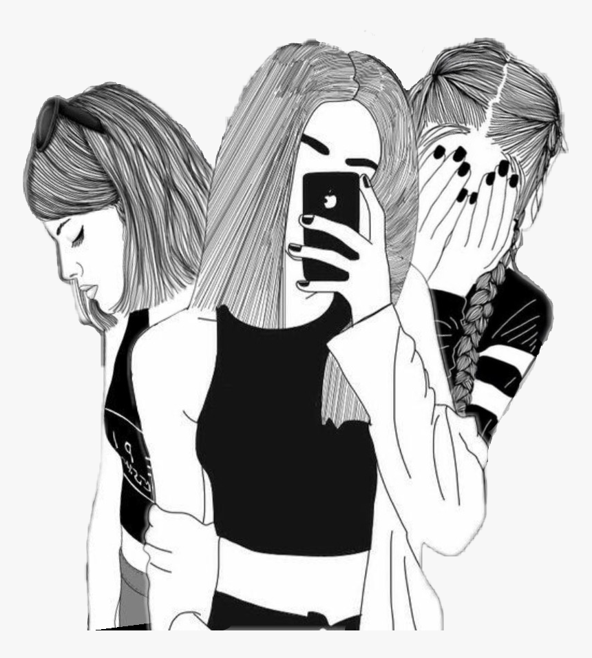 Drawing Sadness Sad Girl Photography Tumblr Black White Sketch Of 3 Best Friends Hd Png Download Kindpng