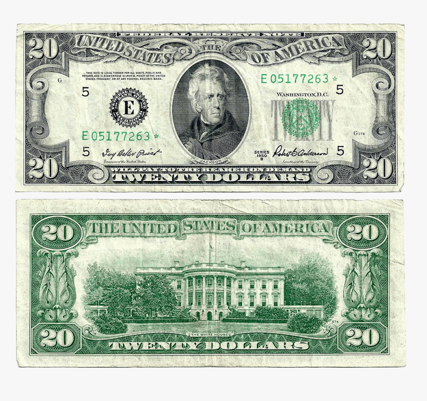1950 B $20 Federal Reserve Star Note Richmond District - 20 Dollar Bill Png, Transparent Png, Free Download