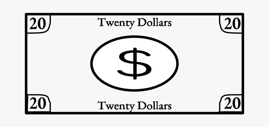 Twenty Dollar Bill, 20, Black And White - Circle, HD Png Download, Free Download