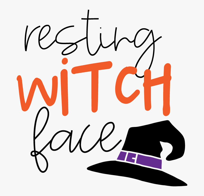 Png File With Witches Hat And Resting Witch Face Text Halloween Free Svg Transparent Png Kindpng