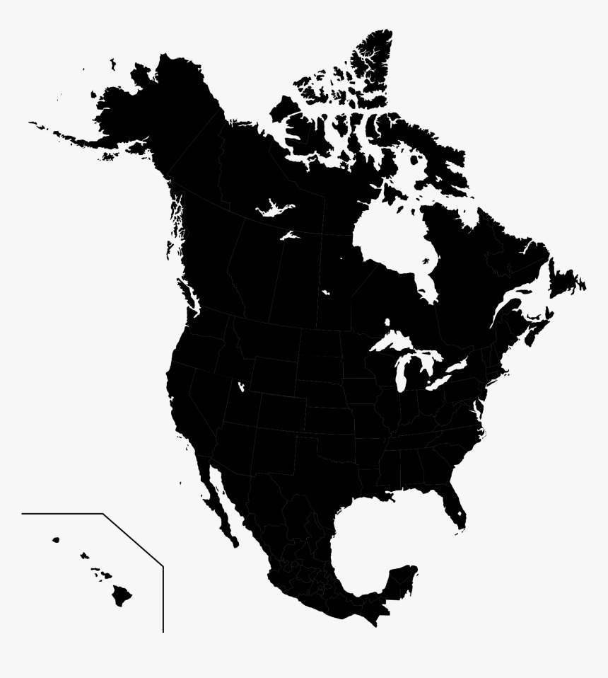 Vector North America Map Outline, HD Png Download - kindpng