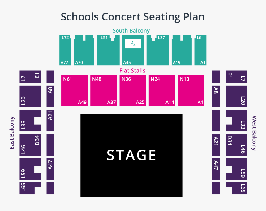 Schools Concert Seating Plan - Concert Brighton Centre Seating Plan, HD Png Download, Free Download