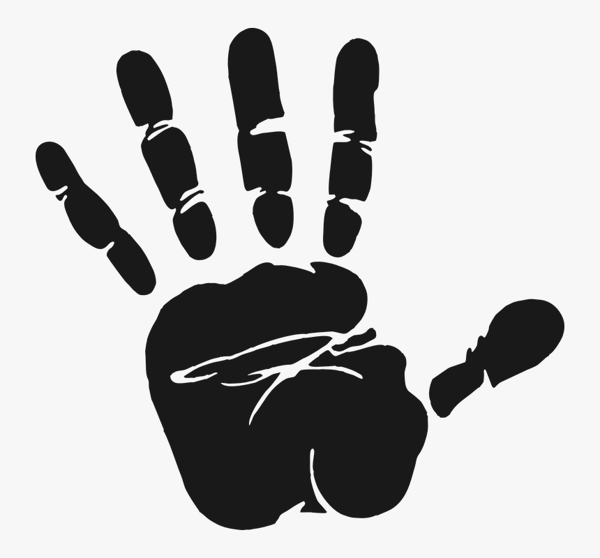 Hand, Print, Grey, Fingers, Thumbs, Stop - Hand Print Clipart Black And White, HD Png Download, Free Download