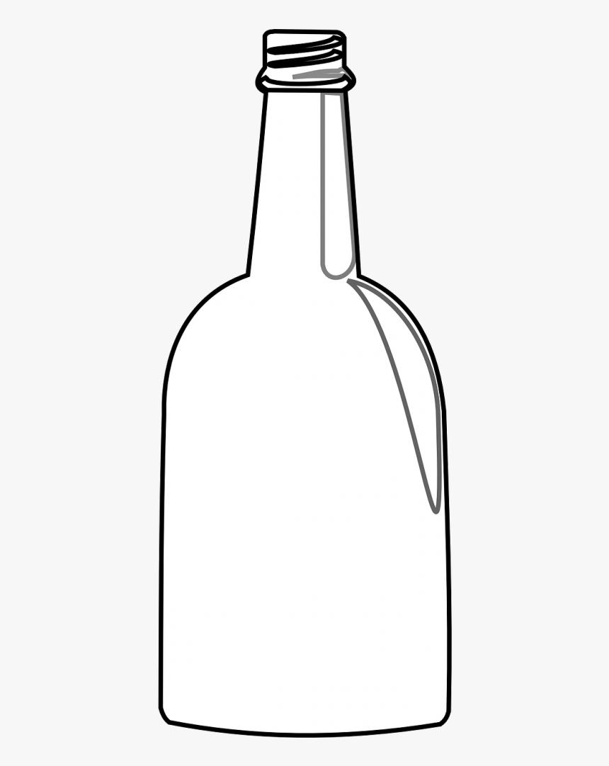 Large Whiskey Bottle Outline Clipart , Png Download - Champagne Bottle Outline, Transparent Png, Free Download