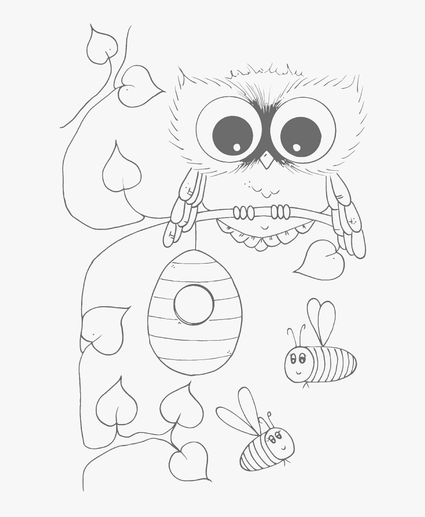 - Cute Owl With Bees Coloring Pages - Cute Owl Clipart Black And