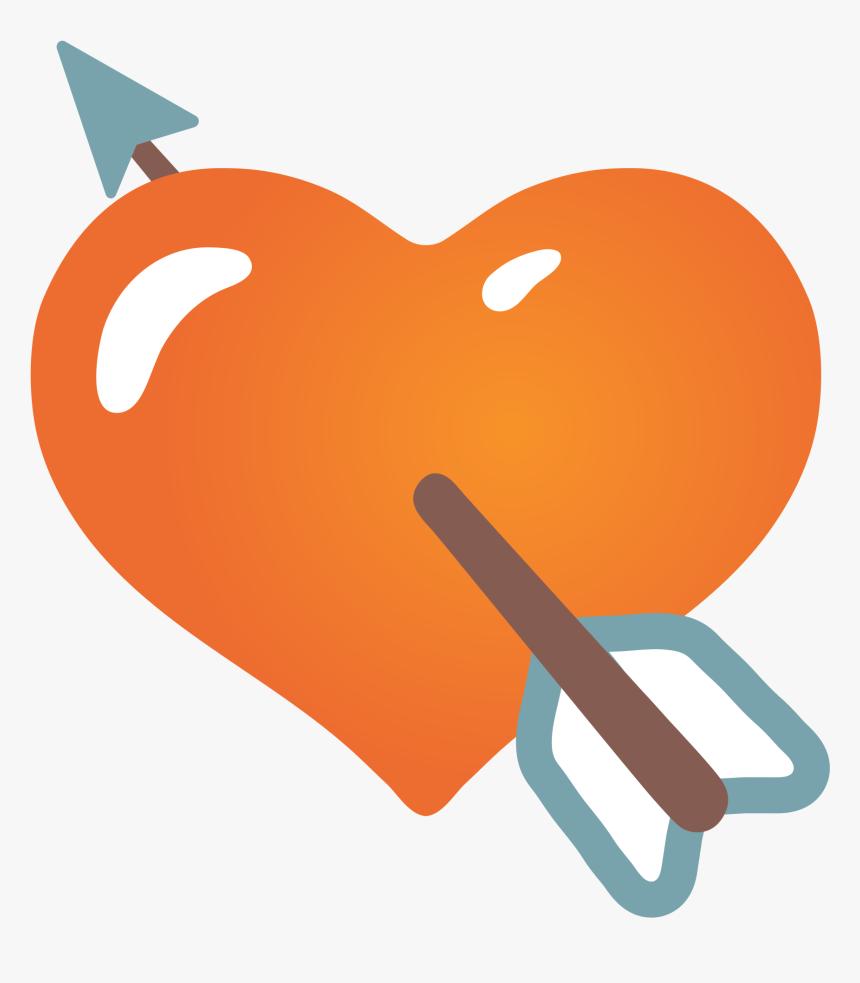 Arrow Heart Emoji Android , Png Download - Png Emoji Orange Heart, Transparent Png, Free Download