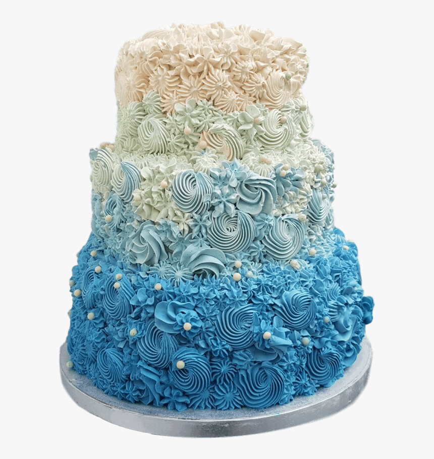 Ombré Blue Buttercream Swirl Wedding Cake - Ombre Blue Flower Cake, HD Png Download, Free Download