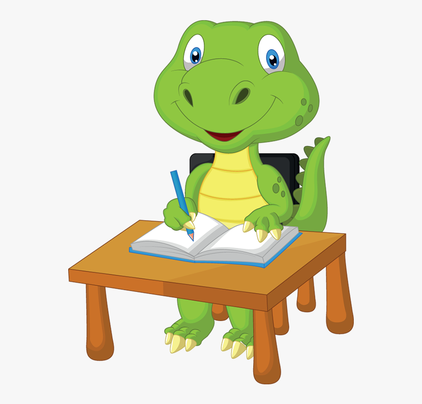 Dinosaur Studying Clipart , Png Download - Cartoon Dinosaur Studying, Transparent Png, Free Download