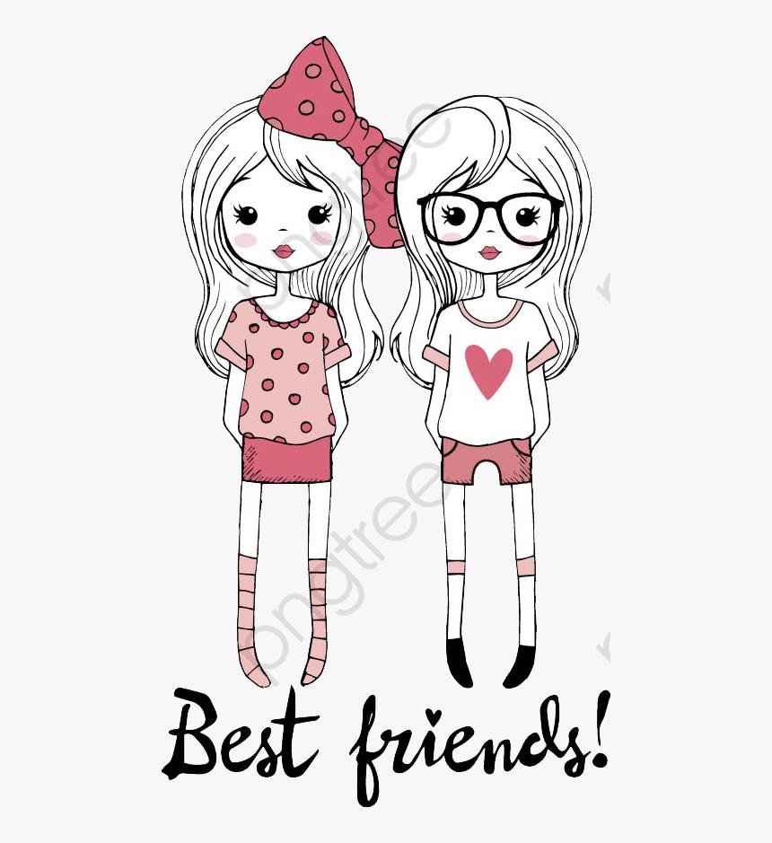 Transparent Friends Clip Art Best Friends Cartoon Drawing Hd Png Download Kindpng