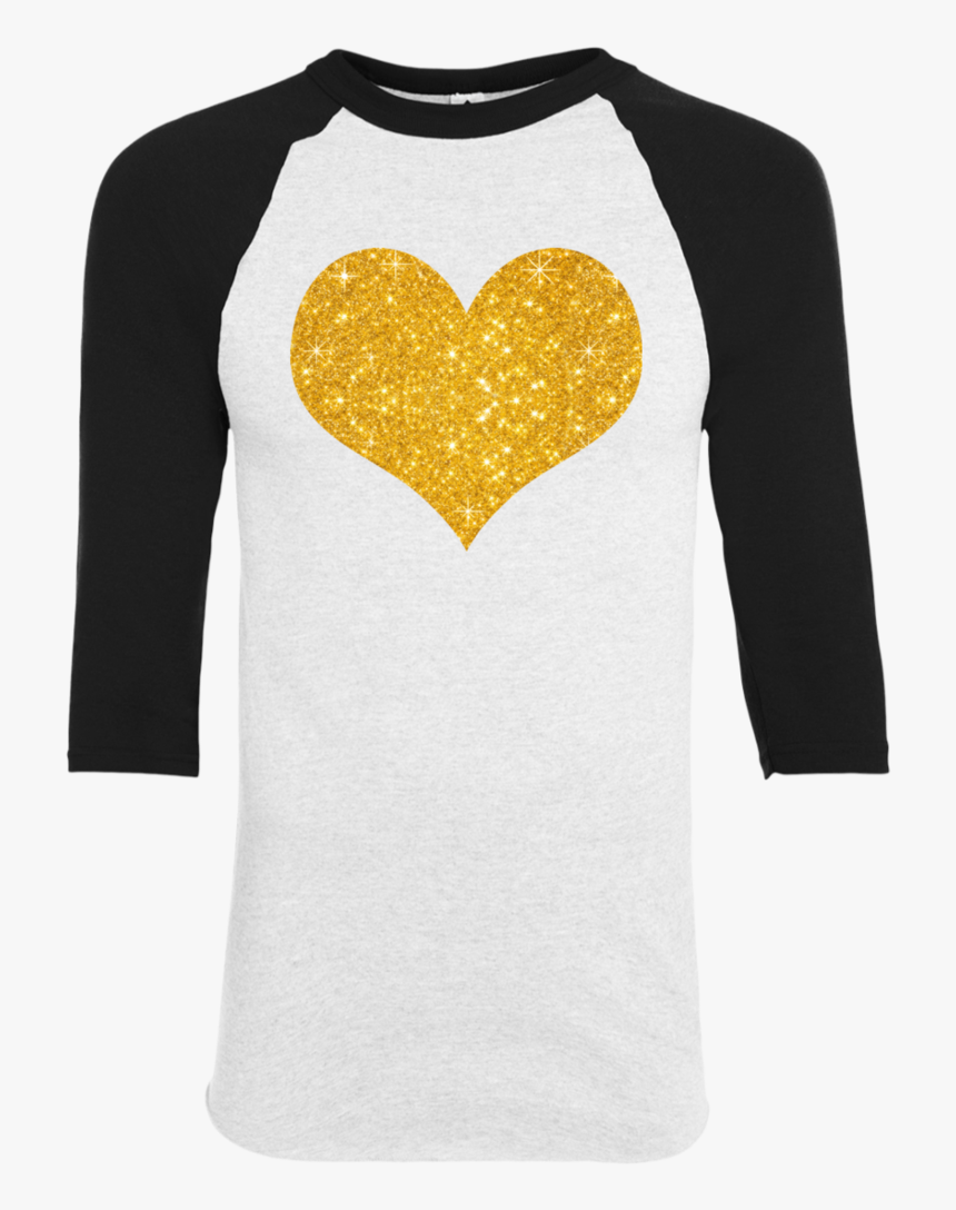 """Gold Glitter Heart For Valentine""""s Day Youth Raglan - Bella+canvas, HD Png Download, Free Download"""
