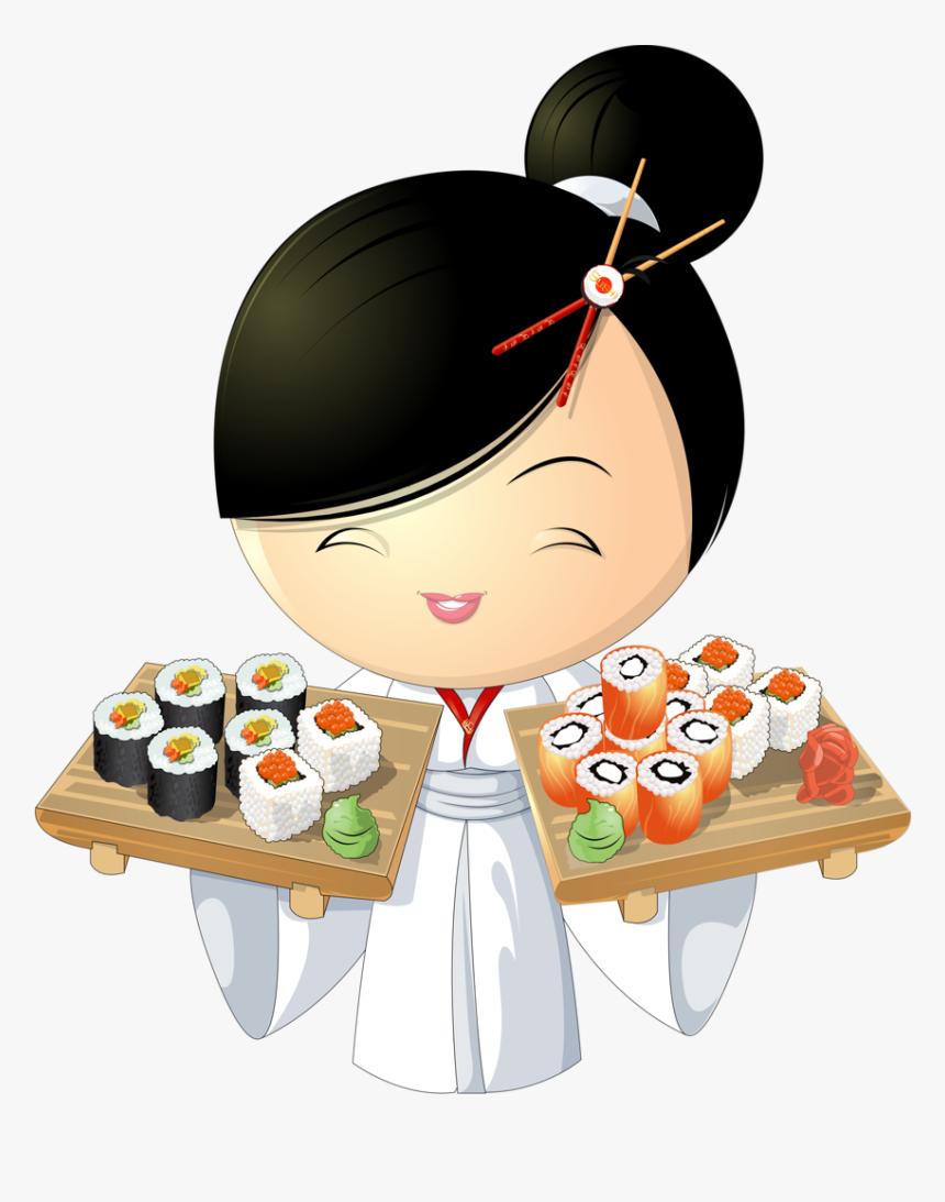 Girl Png Pinterest Asian - Cartoon Girl Eating Sushi, Transparent Png, Free Download