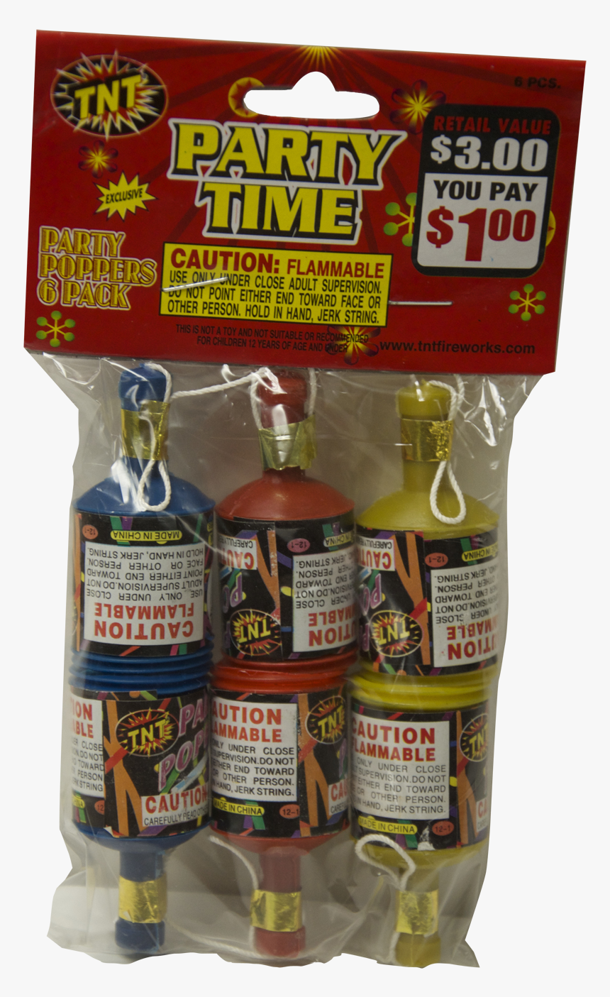 Tnt Party Poppers, Party Time, 6 Pack - Walmart Tnt Fireworks Party Supplies, HD Png Download, Free Download