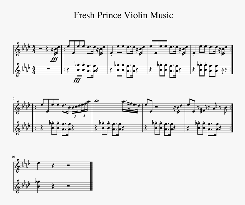 Fresh Prince Violin Music Sheet Music For Piano Download - Kass Theme Accordion Sheet Music, HD Png Download, Free Download