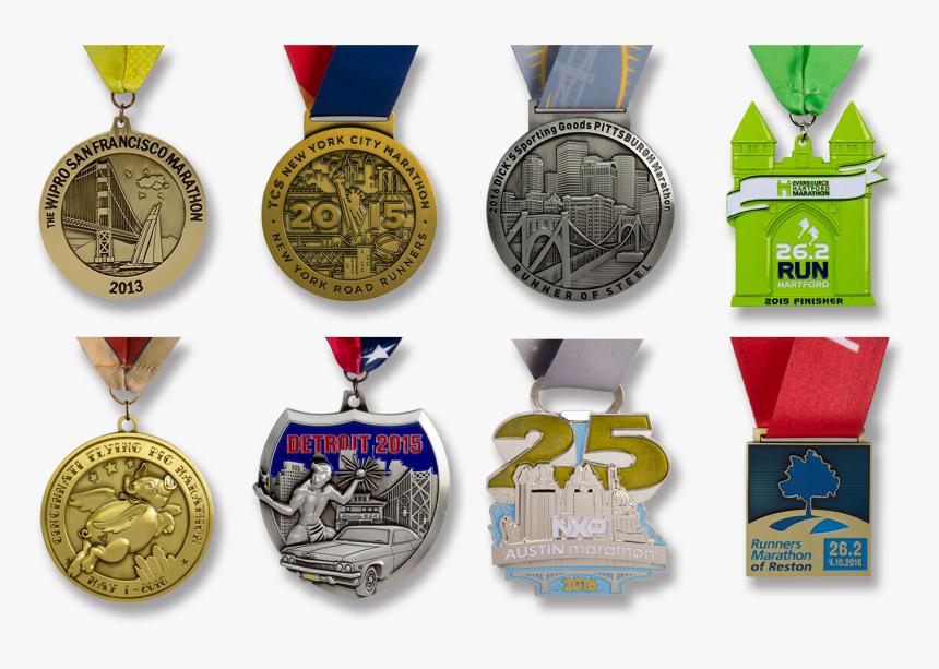 Wrestling Custom Medals Sample Collection - Detroit Free Press Marathon 2019 Medal, HD Png Download, Free Download