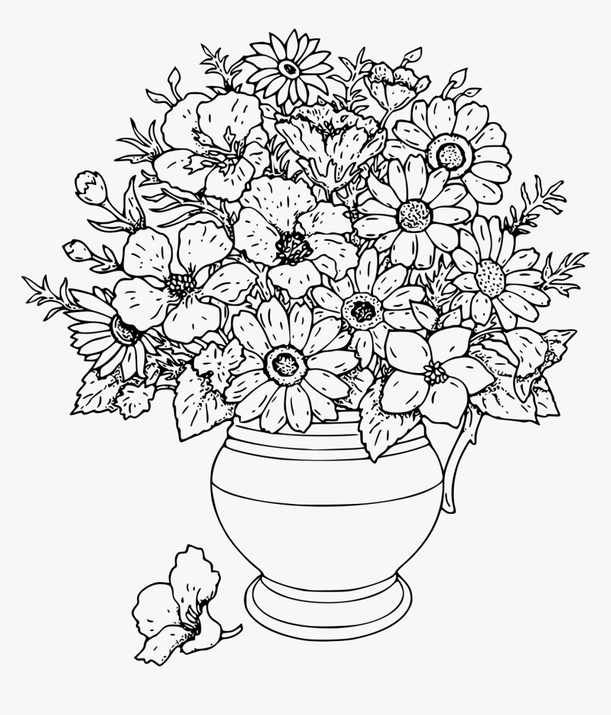 Transparent Flower Vase With Flowers Photography Png - Flower Vase Coloring Pages, Png Download, Free Download