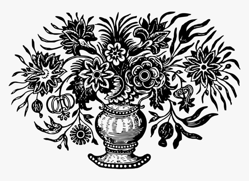 Visual Arts,plant,flora - Flower Vase Black N White Png, Transparent Png, Free Download