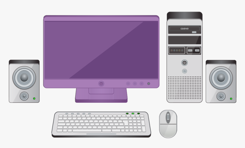 Parts Of A Desktop Computer With The Monitor Highlighted - Personal Computer, HD Png Download, Free Download