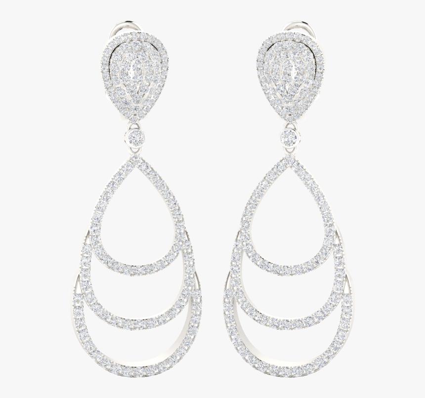 Triple Pear Diamond Hoop Earrings - Earrings, HD Png Download, Free Download