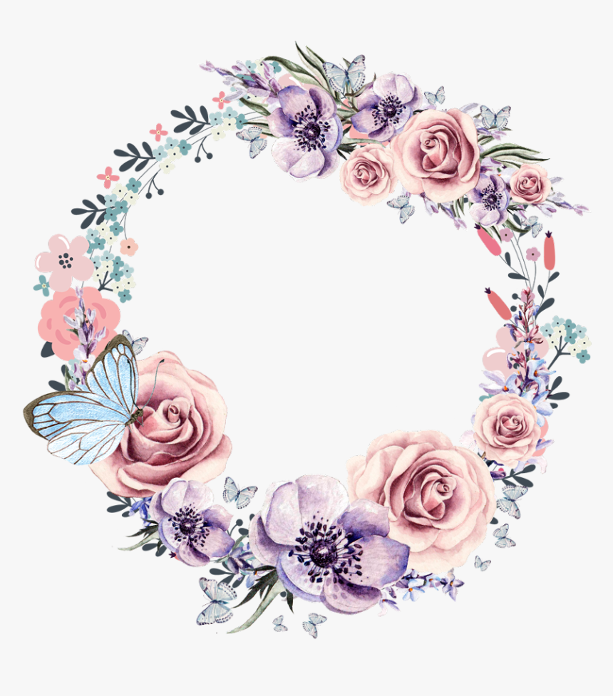 #butterfly #flowers #vinesandleaves #colourful #watercolour - Wreath, HD Png Download, Free Download