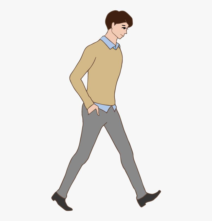 Transparent Man Pointing Clipart - Png Walking Cartoon Man, Png Download, Free Download