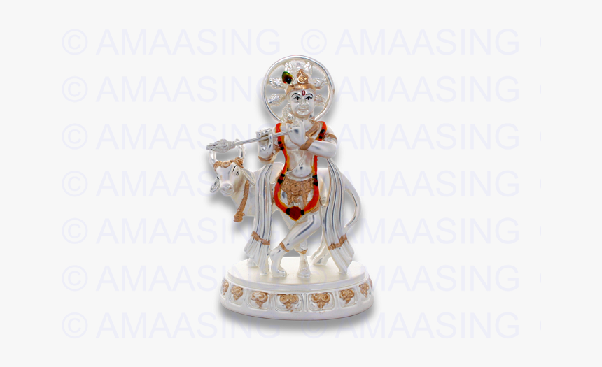 925 Silver Cow Krishna - Figurine, HD Png Download, Free Download