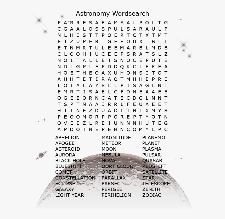 Astronomy Word Search - Water Cycle Word Search Answer Key, HD Png Download, Free Download