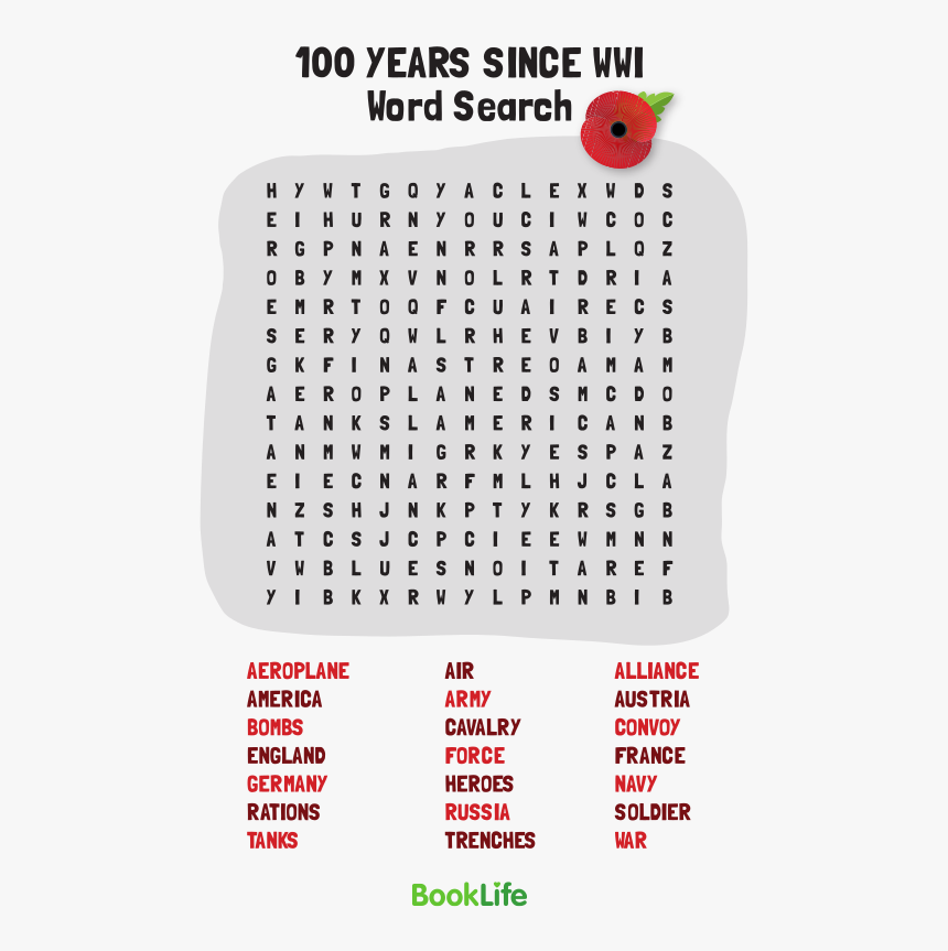 Transparent World War 1 Png - Word Search, Png Download, Free Download