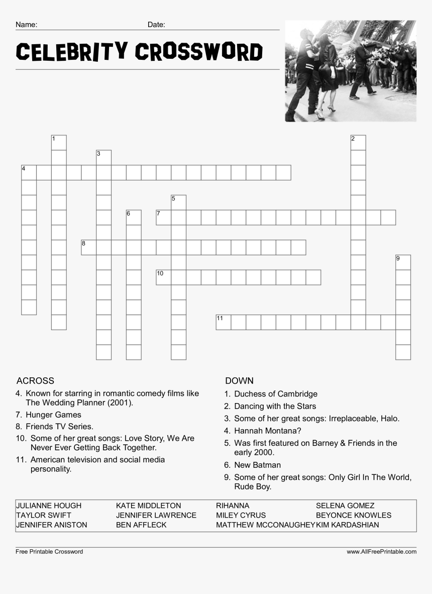 Celebrity Crossword Puzzle Main Image Download Template - Celebrity Word Scramble Answers, HD Png Download, Free Download