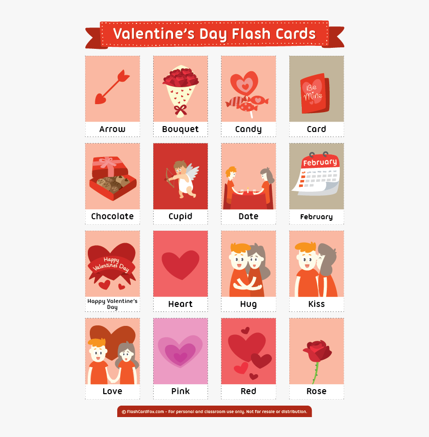 """Free Printable Valentine""""s Day Flash Cards - Flash Cards Valentines Day, HD Png Download, Free Download"""