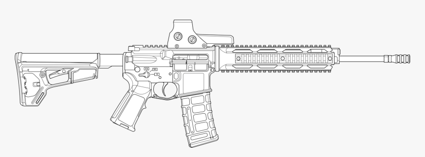 Transparent Ar15 Clipart - Outline Ar 15 Drawing, HD Png Download, Free Download