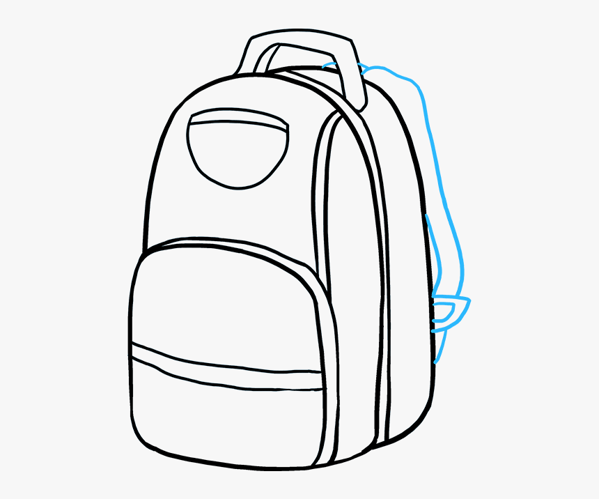 How To Draw Backpack - Backpack Drawing Transparent Background, HD Png Download, Free Download