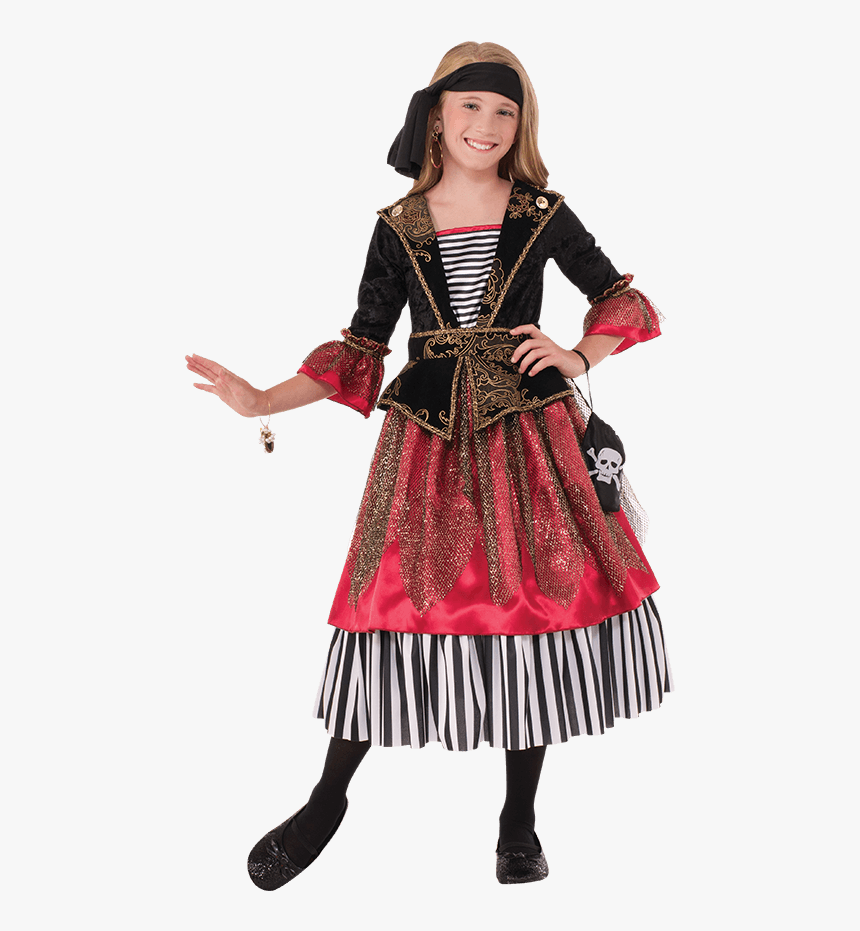 Girls Crimson Caribbean Pirate Costume, HD Png Download, Free Download