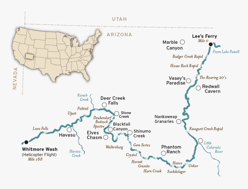 Map Of Colorado River In Grand Canyon, HD Png Download, Free Download
