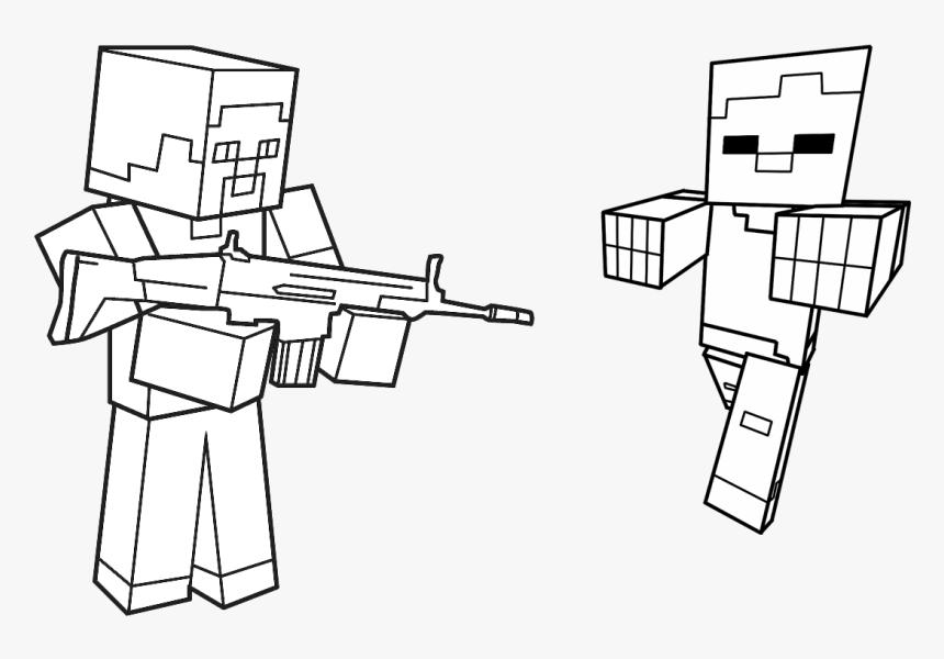 Jogo Pinte Herobrine E Zumbi De Minecraft - Minecraft Desenhos Para Colorir, HD Png Download, Free Download