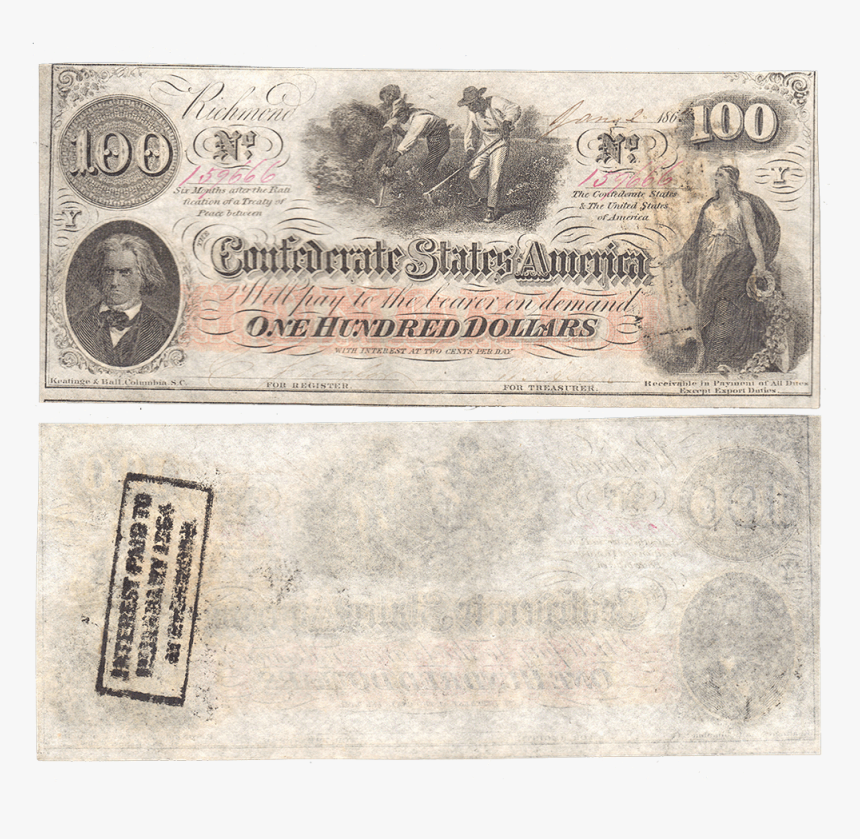 Pair Of T 41 Jan - Confederate Currency Front And Back, HD Png Download, Free Download