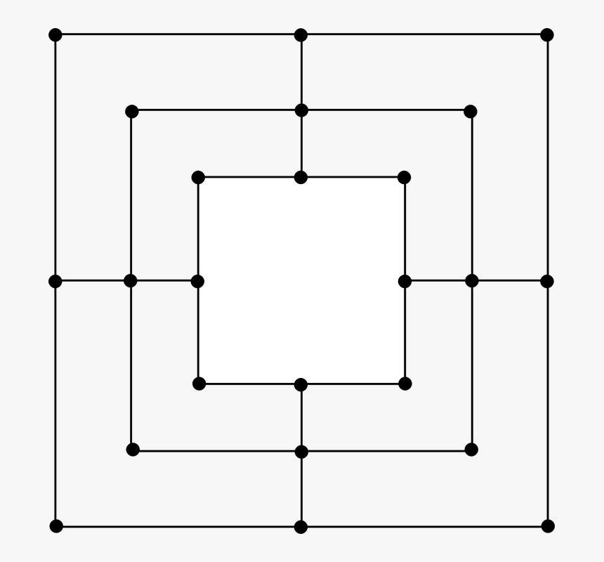 Box, Square, Target, Cursor, Dots, Line - Twelve Man Morris Board, HD Png Download, Free Download
