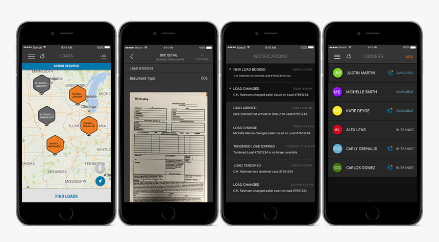 Navisphere Carrier Mobile App Features - Ch Robinson Driver App, HD Png Download, Free Download