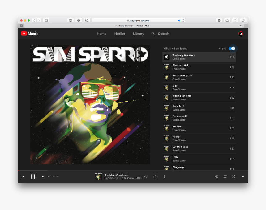 Player On Youtube Music - Sam Sparro Sam Sparro Album, HD Png Download, Free Download