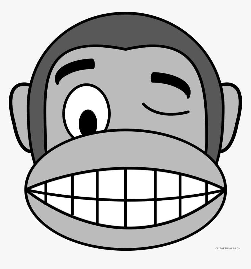 Monkey Emojis Animal Free Black White Clipart Images Monkey Scared Face Cartoon Hd Png Download Kindpng