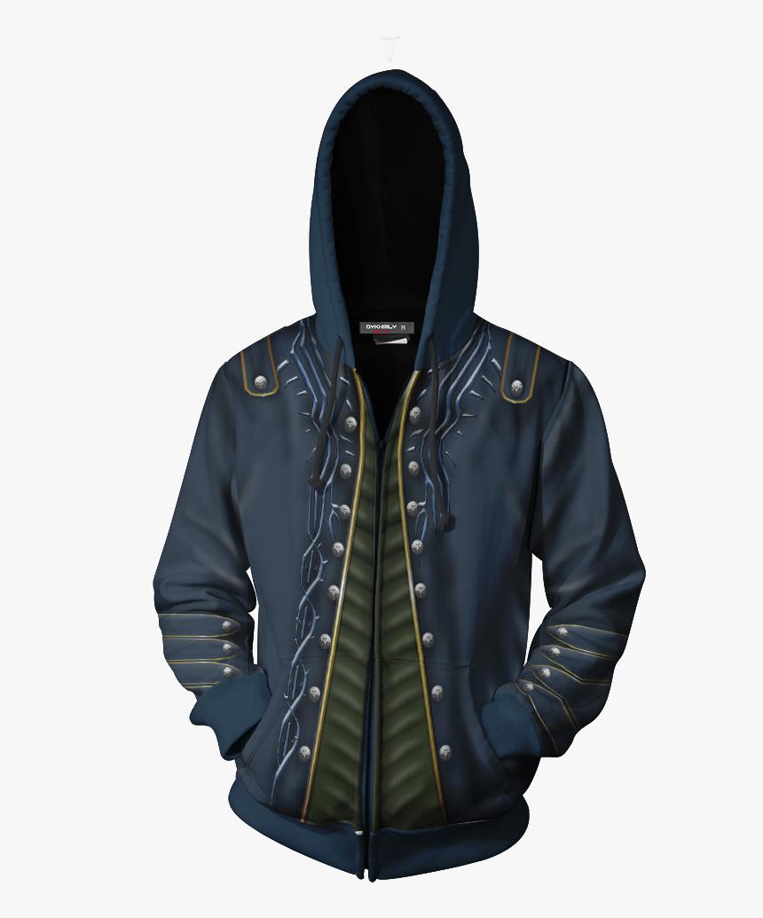 Devil May Cry Vergil Cosplay Zip Up Hoodie Jacket - Vergil Hoodie, HD Png Download, Free Download