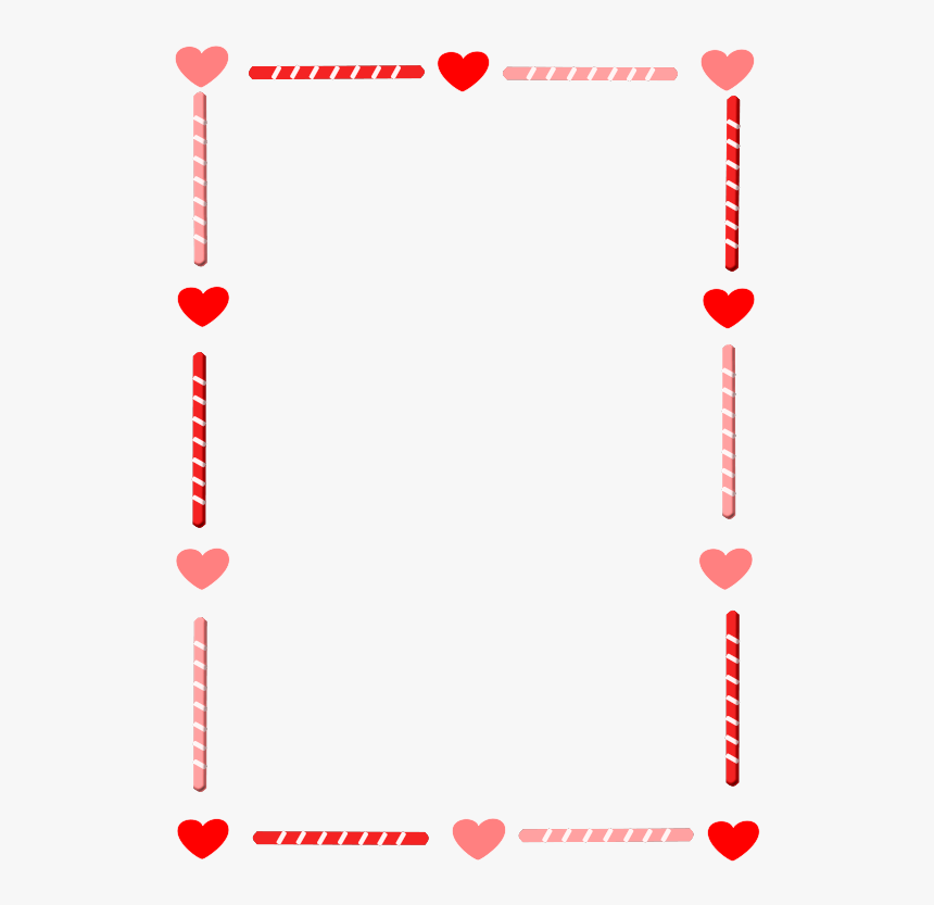 Heart And Candy Border - Valentines Day Border Clip Art, HD Png Download, Free Download