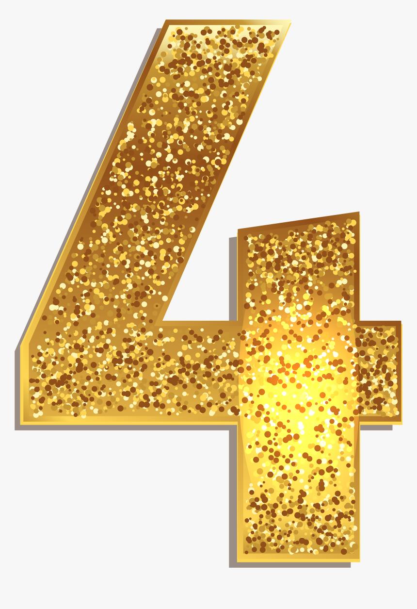 Number Gold Shining Png - Number 4 Gold Png, Transparent Png, Free Download