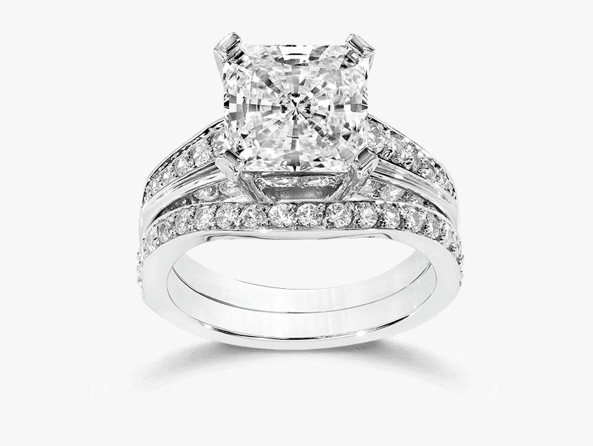 Princess Cut Cubic Zirconia Engagement Rings With Transparent - Cubic Zirconia Princess Cut Wedding Set, HD Png Download, Free Download