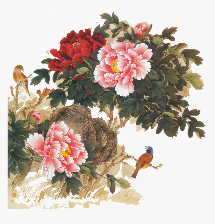 Transparent Japanese Flowers Png - Chinese Peonies Painting Png, Png Download, Free Download