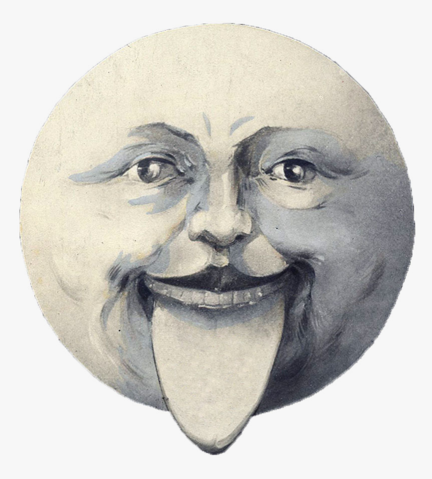 Vintage Moon Face, HD Png Download, Free Download