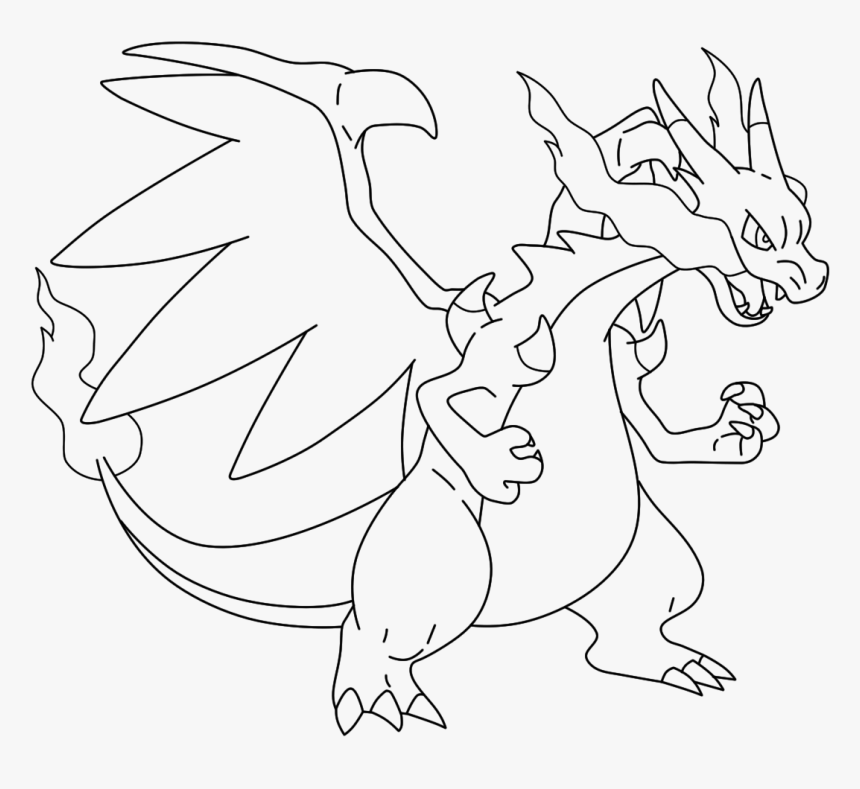 Mega Charizard Drawing Charizard X Coloring Page Hd Png Download Kindpng